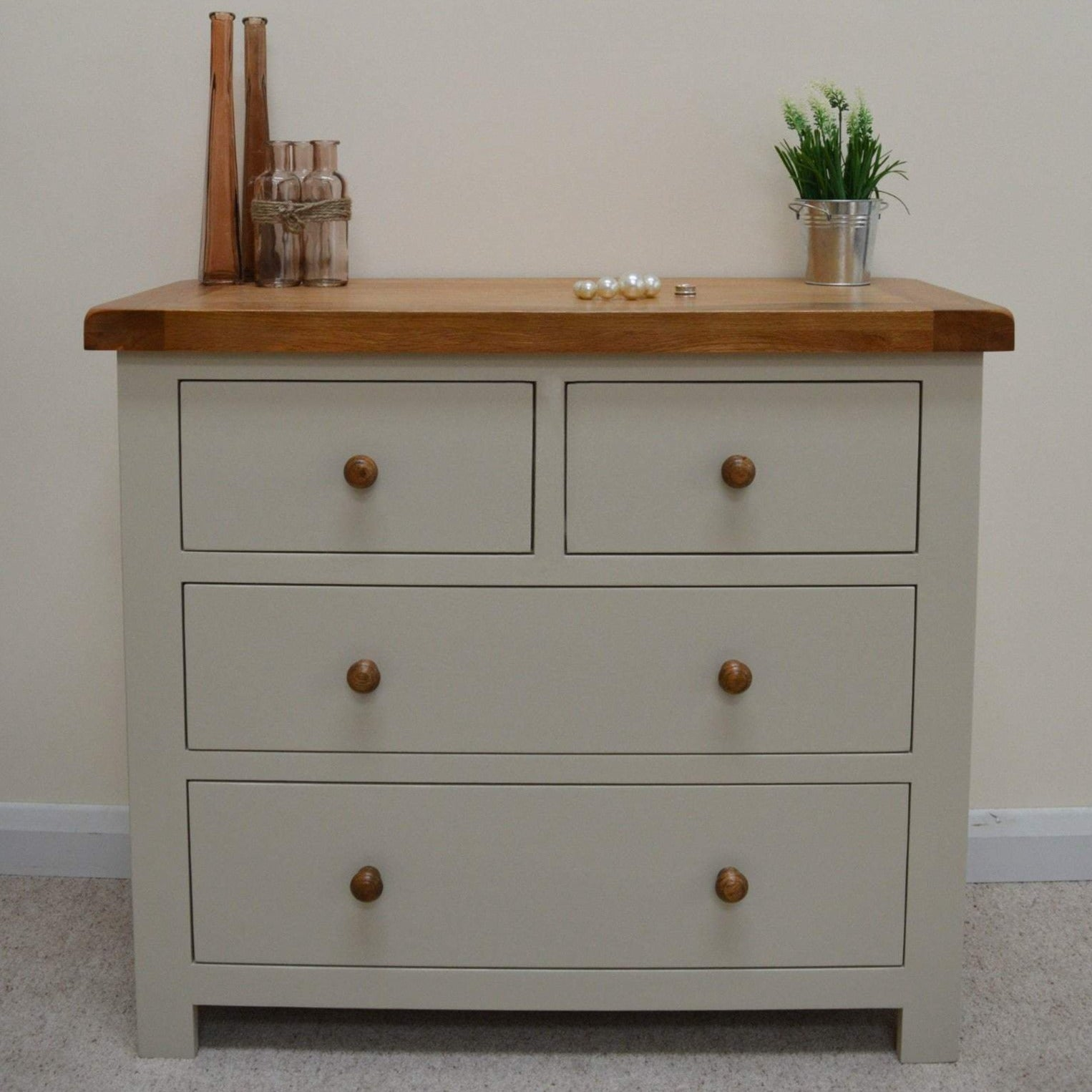 Dining Room Chest Of Drawers: Walcot Painted 4 Drawer Wide Chest Of Drawers (2 Over 2