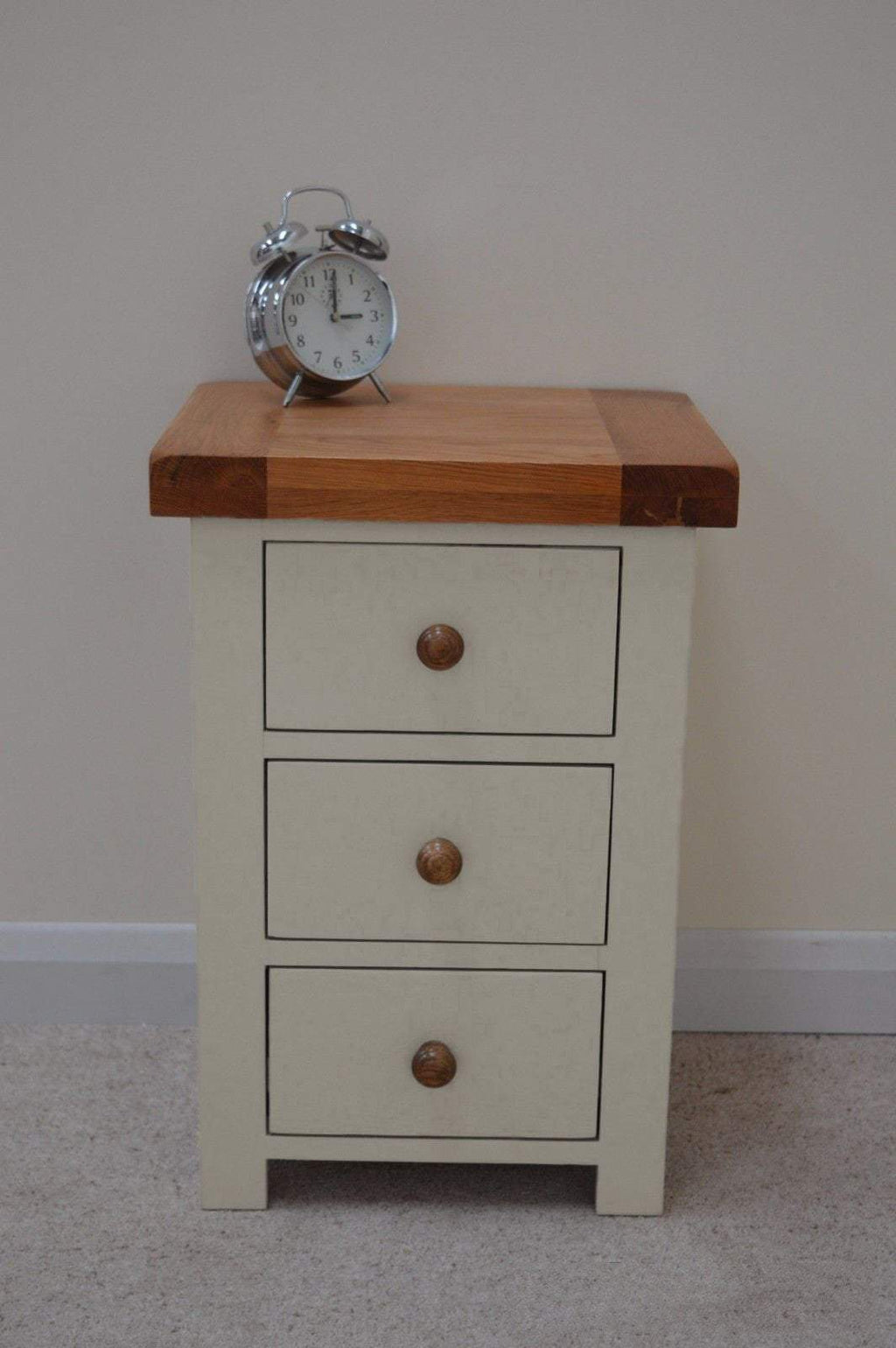Walcot Painted Oak 3 Drawer Bedside Chest - Oak Village