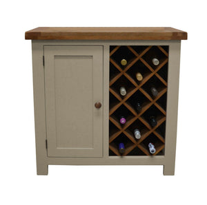 Walcot Painted Oak Wine Rack with Storage - Oak Village