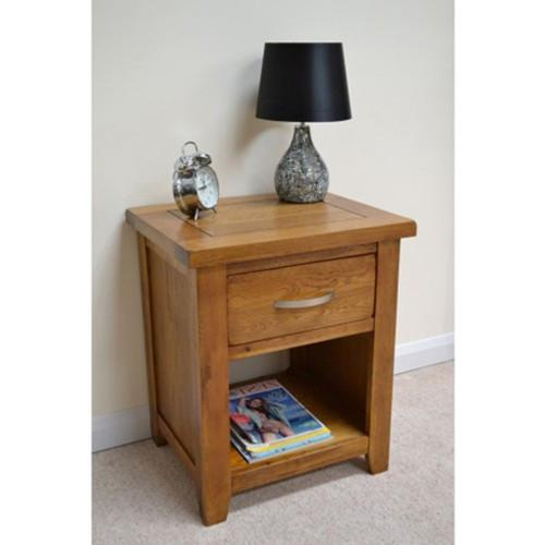 Wessex Country Oak 1 Drawer Open Bedside Table - Oak Village