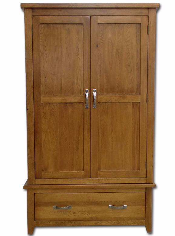 Wessex Country Oak 2 Door Wardrobe with Storage Drawer - Oak Village