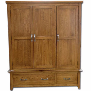 Wessex Country Oak 3 Door Wardrobe with Storage Drawer - Oak Village