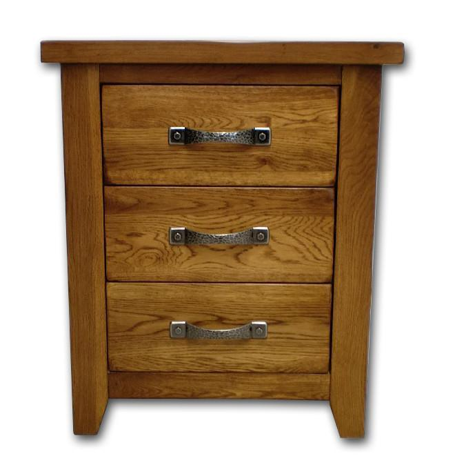 Wessex Country Oak 3 Drawer Bedside Table - Oak Village