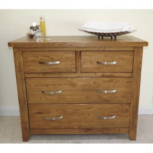 Wessex Country Oak 4 Drawer 2 Over 2 Chest of Drawers - Oak Village