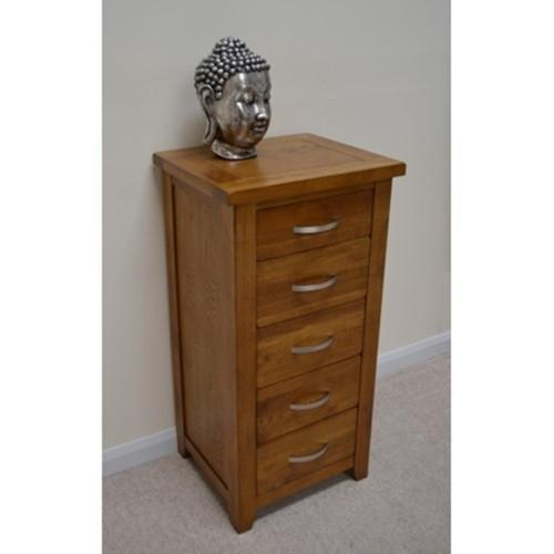 Wessex Country Oak 5 Drawer Tallboy Chest of Drawers Wellington Chest - Oak Village
