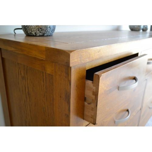 Wessex Country Oak 7 Drawer 3 Over 4 Wide Chest of Drawers - Oak Village
