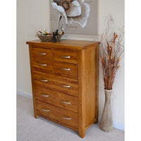 Wessex Country Oak 7 Drawer 4 Over 3 Chest of Drawers - Oak Village