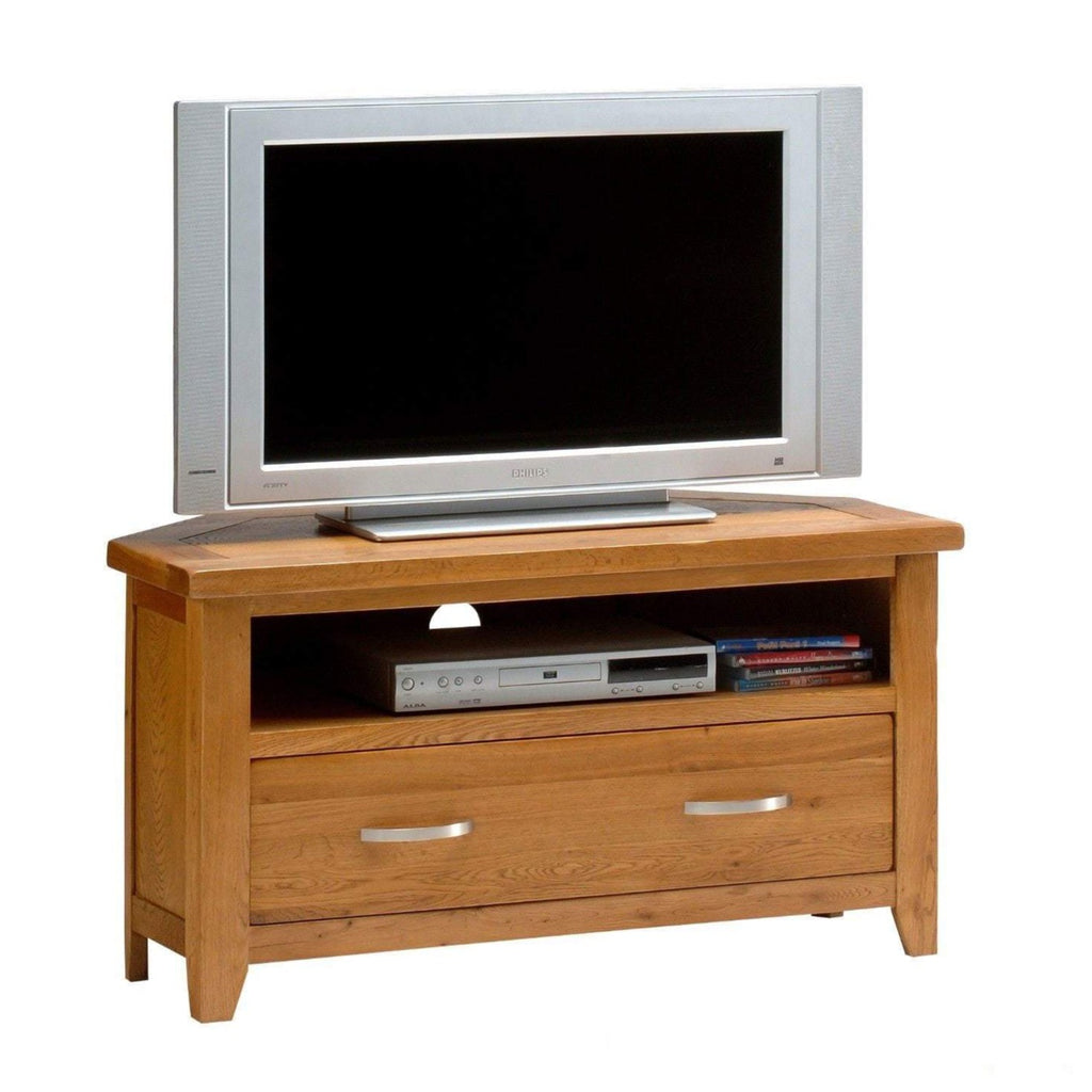 Wessex Country Oak Corner TV Stand - Oak Village