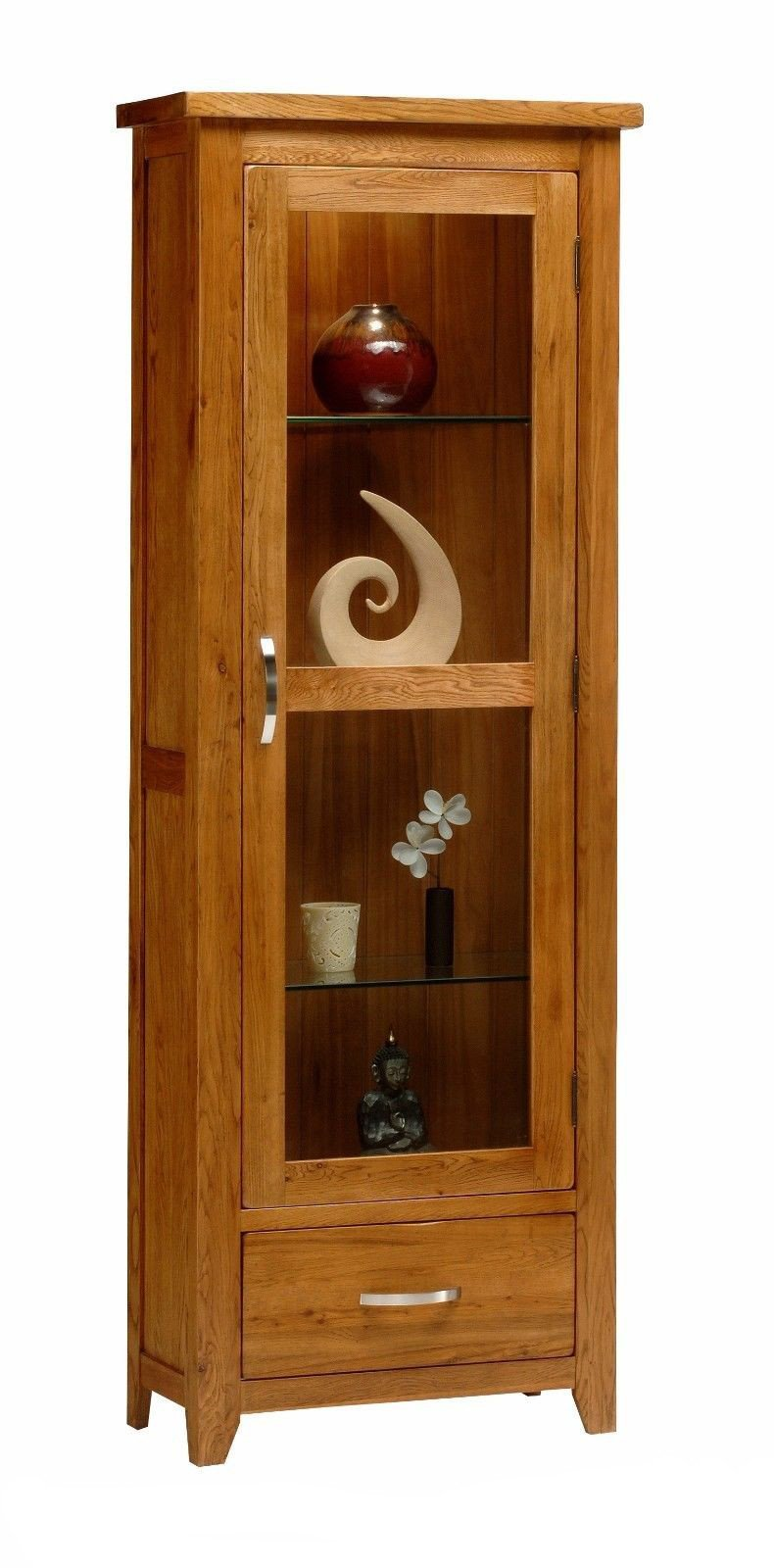 Wessex Country Oak One Door Glass Display Unit - Oak Village