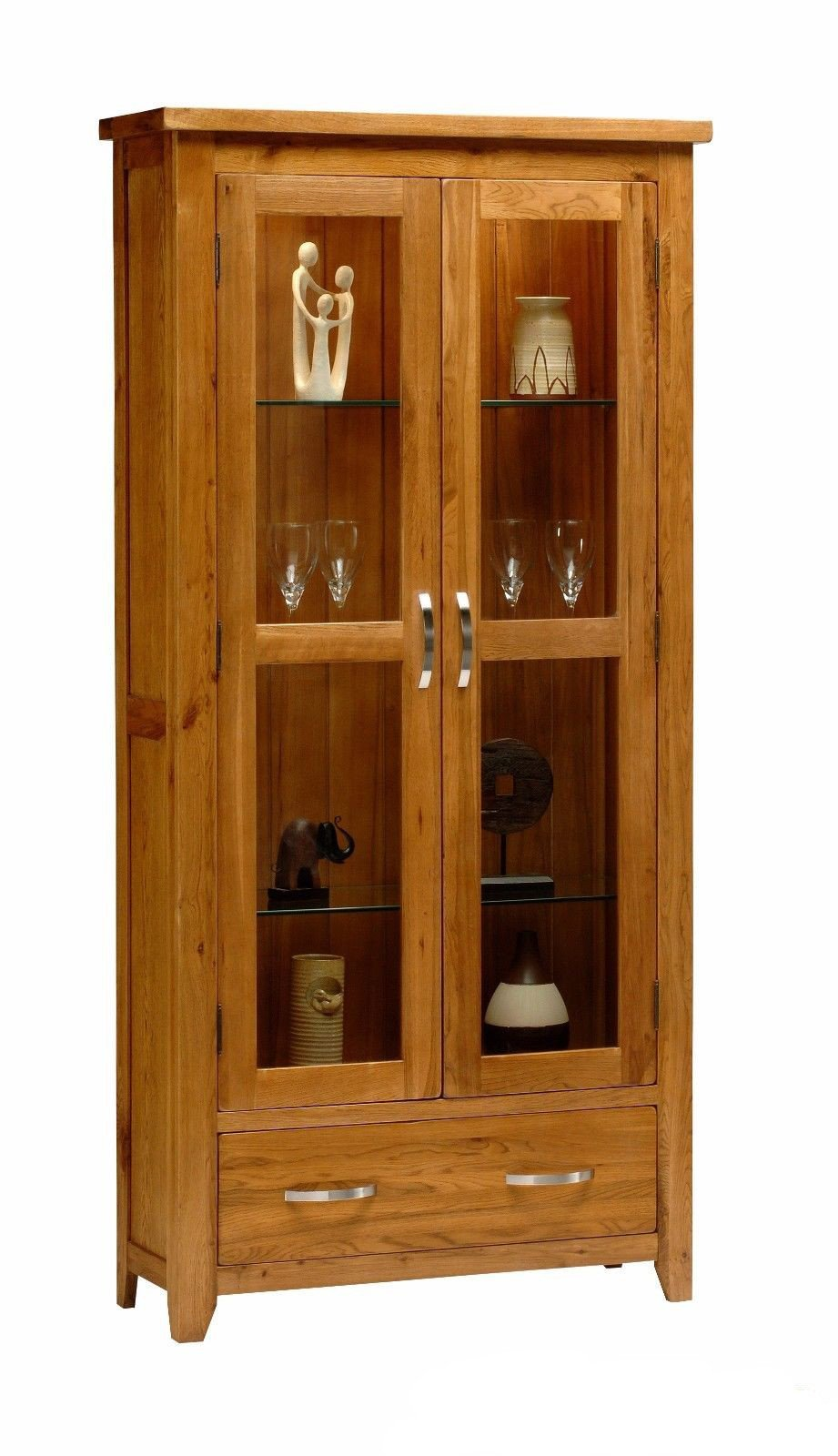 Wessex Country Oak Two Door Glass Display - Oak Village