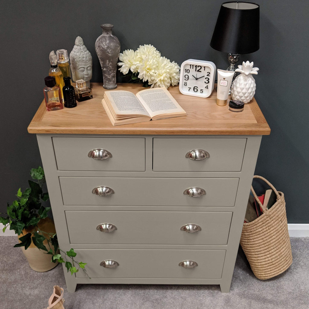 Woburn Grey Painted 2 Over 3 Chest of Drawers - Oak Village