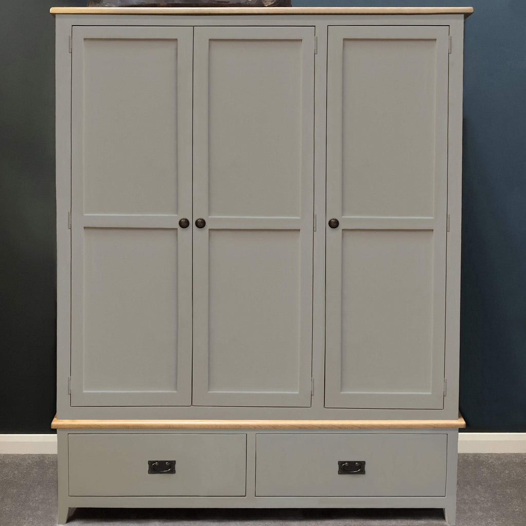 Woburn Grey Painted 3 Door Wardrobe - Oak Village