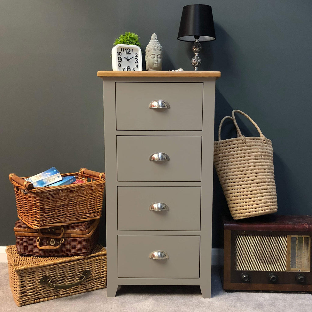 Woburn Grey Painted 4 Drawer Narrow Chest of Drawers - Oak Village