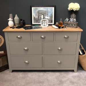 Woburn Grey Painted 7 Drawer Multi Chest of Drawers - Oak Village