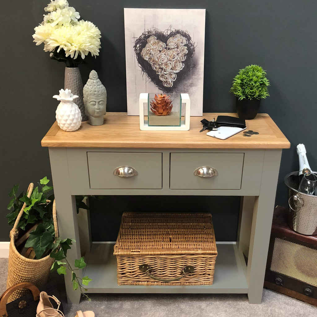 Woburn Grey Painted Oak Console Table - Oak Village