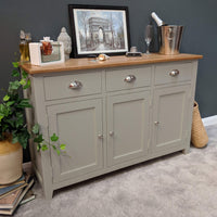 Woburn Grey Painted Oak Large Sideboard - Oak Village