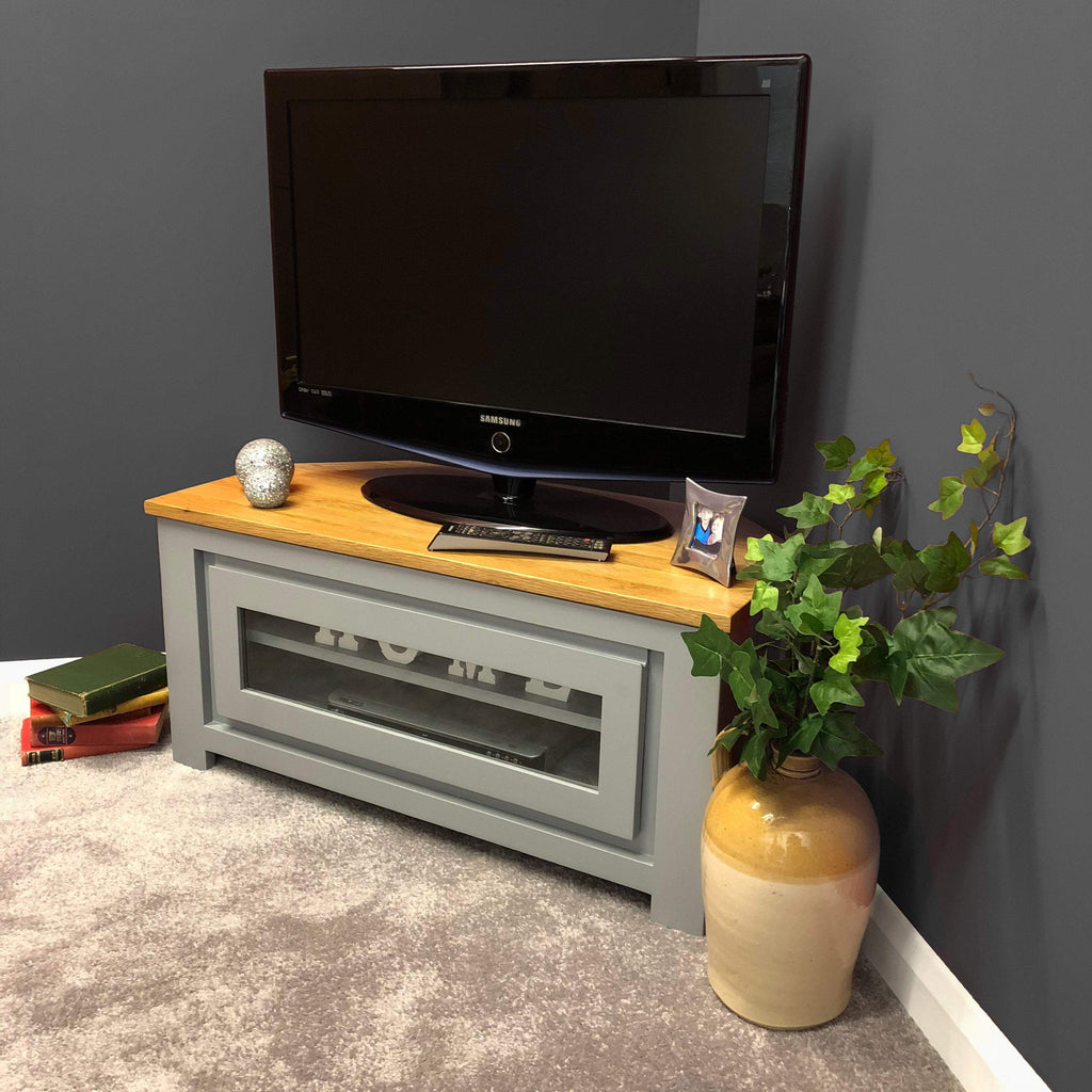 York Painted Grey Corner TV Unit - Oak Village