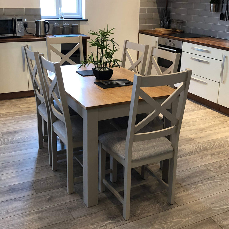 York Painted Grey Dining Table With Chairs Oak Village