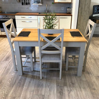 York Painted Grey Dining Table With Chairs - Oak Village