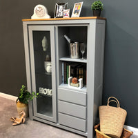 York Painted Grey Glass Display Cabinet - Oak Village