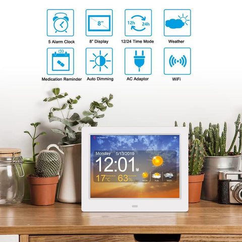 Image of 8 Digital Wi fi Weather Station Orientation Clock