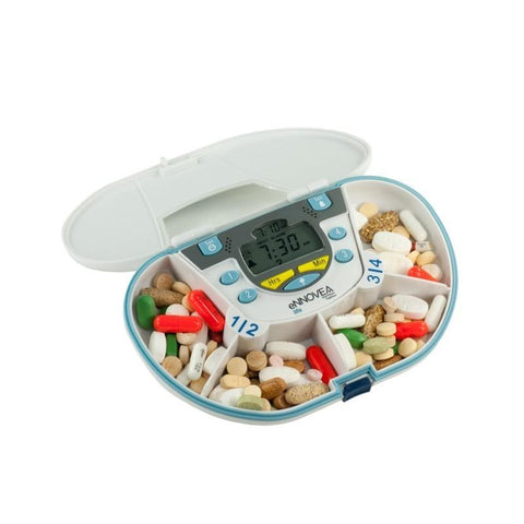 Image of VitaCarry Gasketed 4 Compartment Pill Box (White) with 4 Alarm Timer