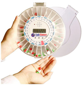 Automated Pill Dispenser (2 lids white and clear) medelert