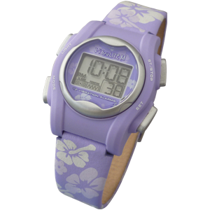 VibraLITE MINI Purple Leather Band Vibrating 12 Alarm Reminder Watch