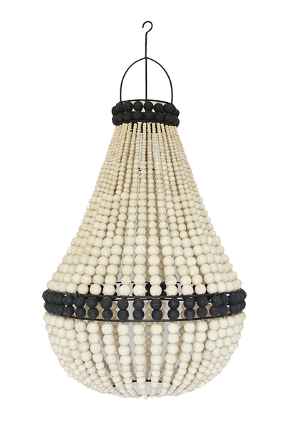Wooden Beaded Chandelier - Large Natural with Black Detail