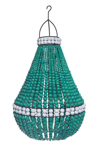 Wooden Beaded Chandelier - Large, Green with White Detail.