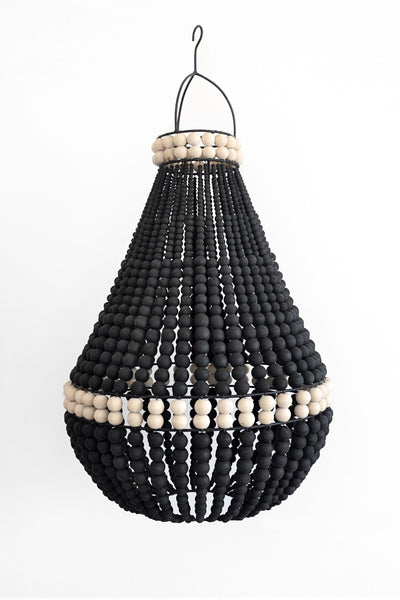 Wooden Beaded Chandelier - Large Black with Natural Detail