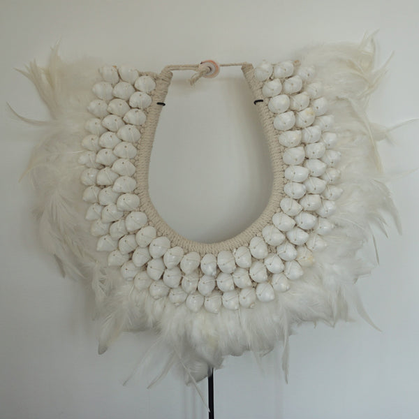 Tribal Shell Necklace - Shell and Feather