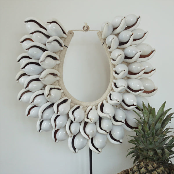 Tribal Shell Necklace - 3 Tier Large Shell