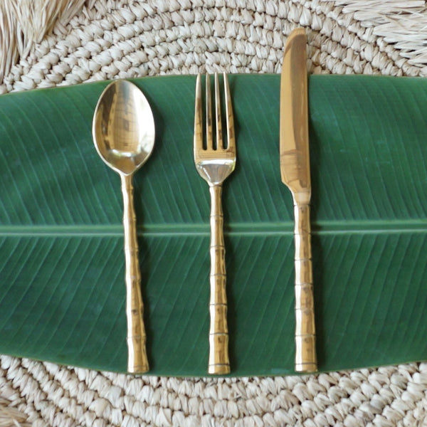 Brass Cutlery with Vintage Style Bamboo Detail - 4 place setting/12 pieces