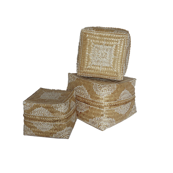Painted Rattan Boxes, Set of 3 - White Henna