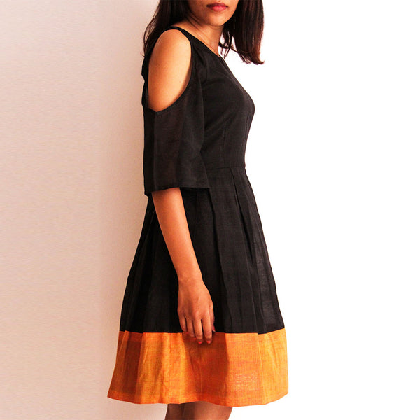 Black Cotton Off Shoulder Dress