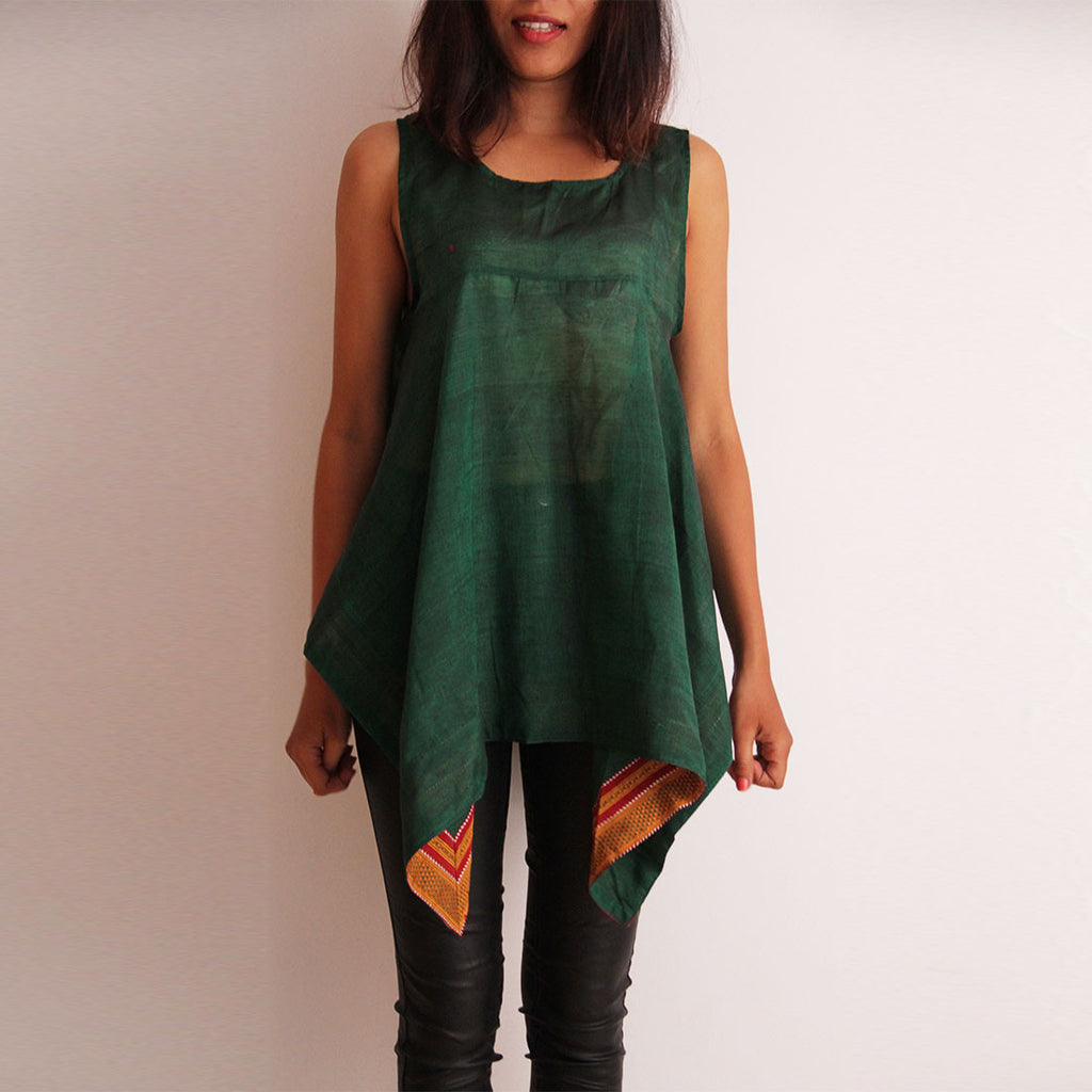 Green Cotton Square Cut Top by Dori