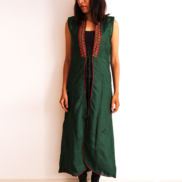 Green Cotton Long Vest by Dori