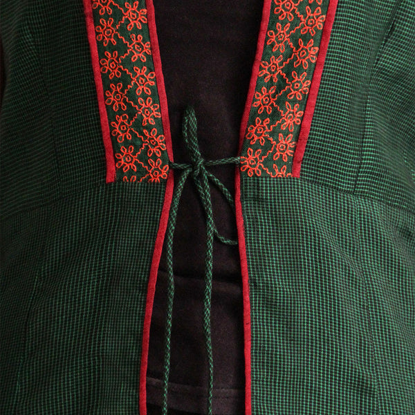 Green Cotton Long Vest