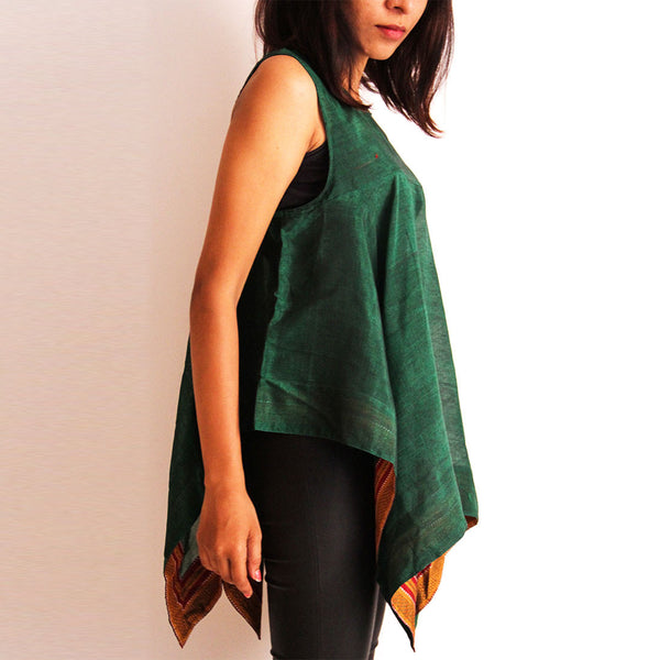 Green Cotton Square Cut Top
