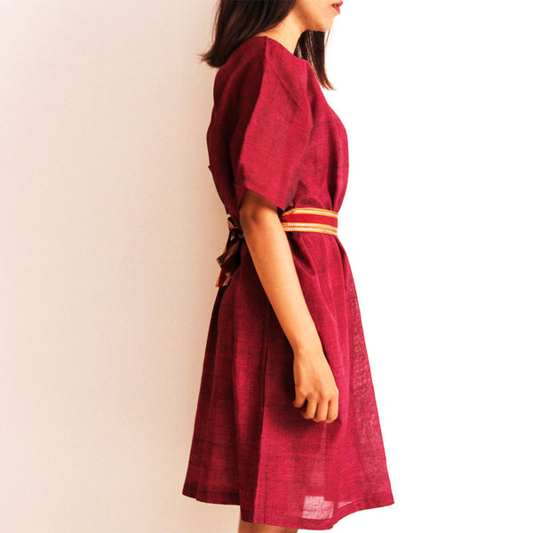 Wine Cotton Box Dress