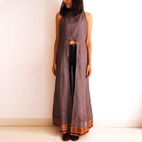 Grey Cotton Checkered Maxi by Dori