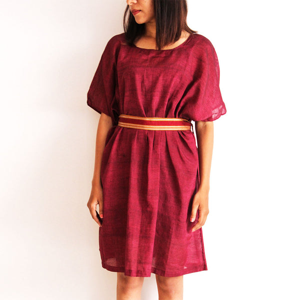 Wine Cotton Box Dress by Dori