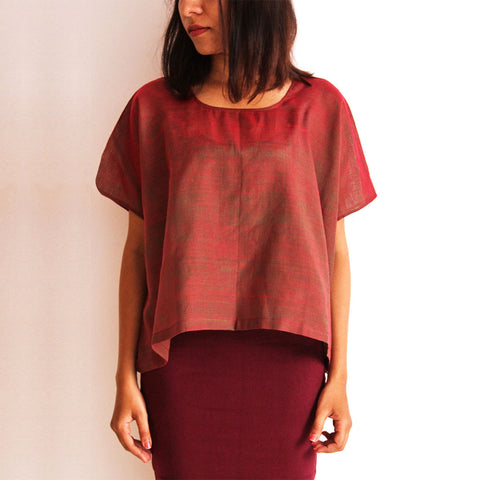 Wine Cotton Box Shirt by Dori