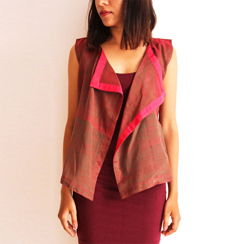 Wine Cotton Square Cut Vest by Dori