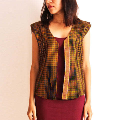 Red Reversible Cotton Vest by Dori