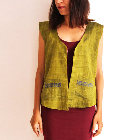 Green Reversible Cotton Vest by Dori