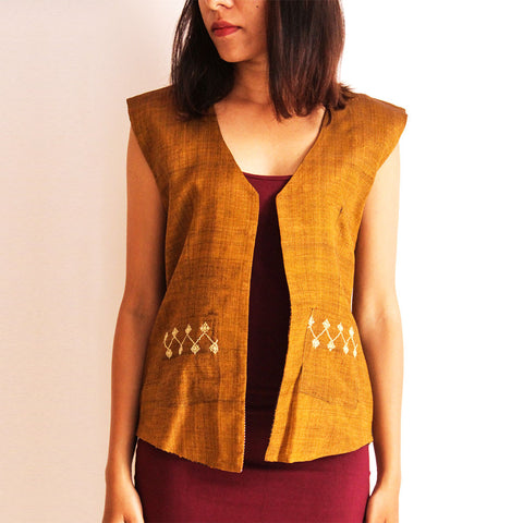 Mustard Reversible Cotton Vest by Dori