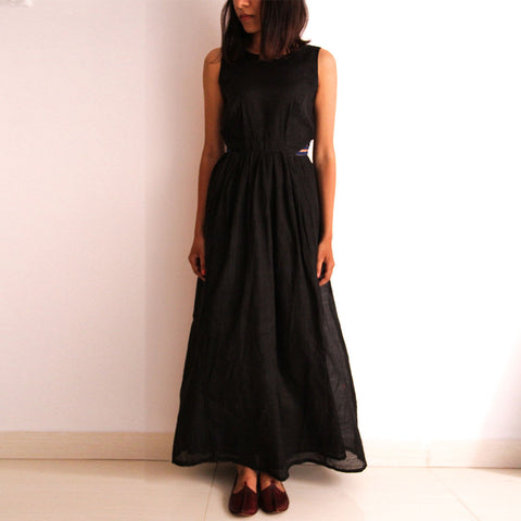 Black Cotton Maxi Dress by Dori