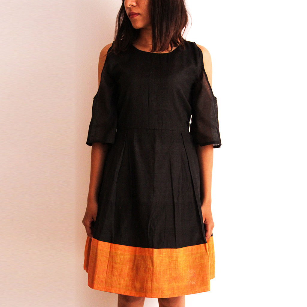 Black Cotton Off Shoulder Dress by Dori